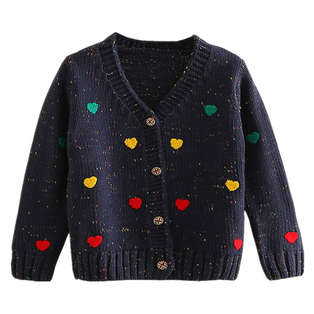 LittleSpring Little Girls' Cardigan Buttons Heart SLS-S0335