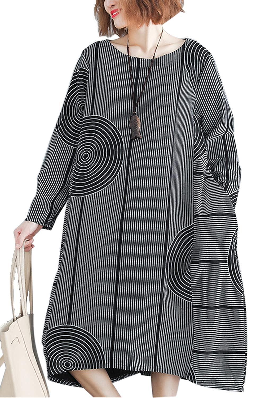 Fasumava Womens Dress Spring Autumn Casual Cotton Stripes Baggy Midi Dresses