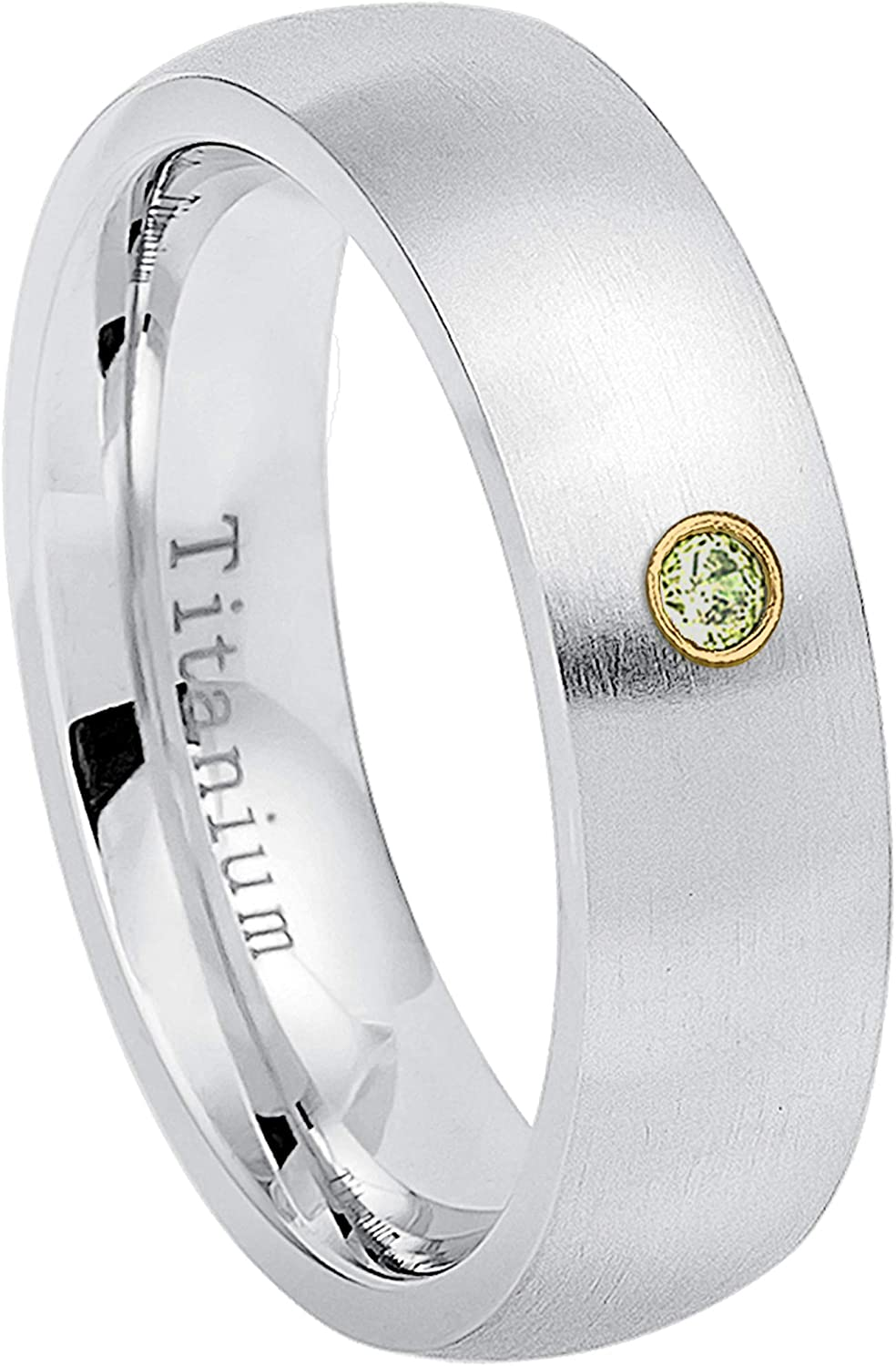 August Birthstone Ring 0.07ct Peridot Titanium Ring 6.5 6MM Brushed Finish Comfort Fit Classic Dome White Wedding Band