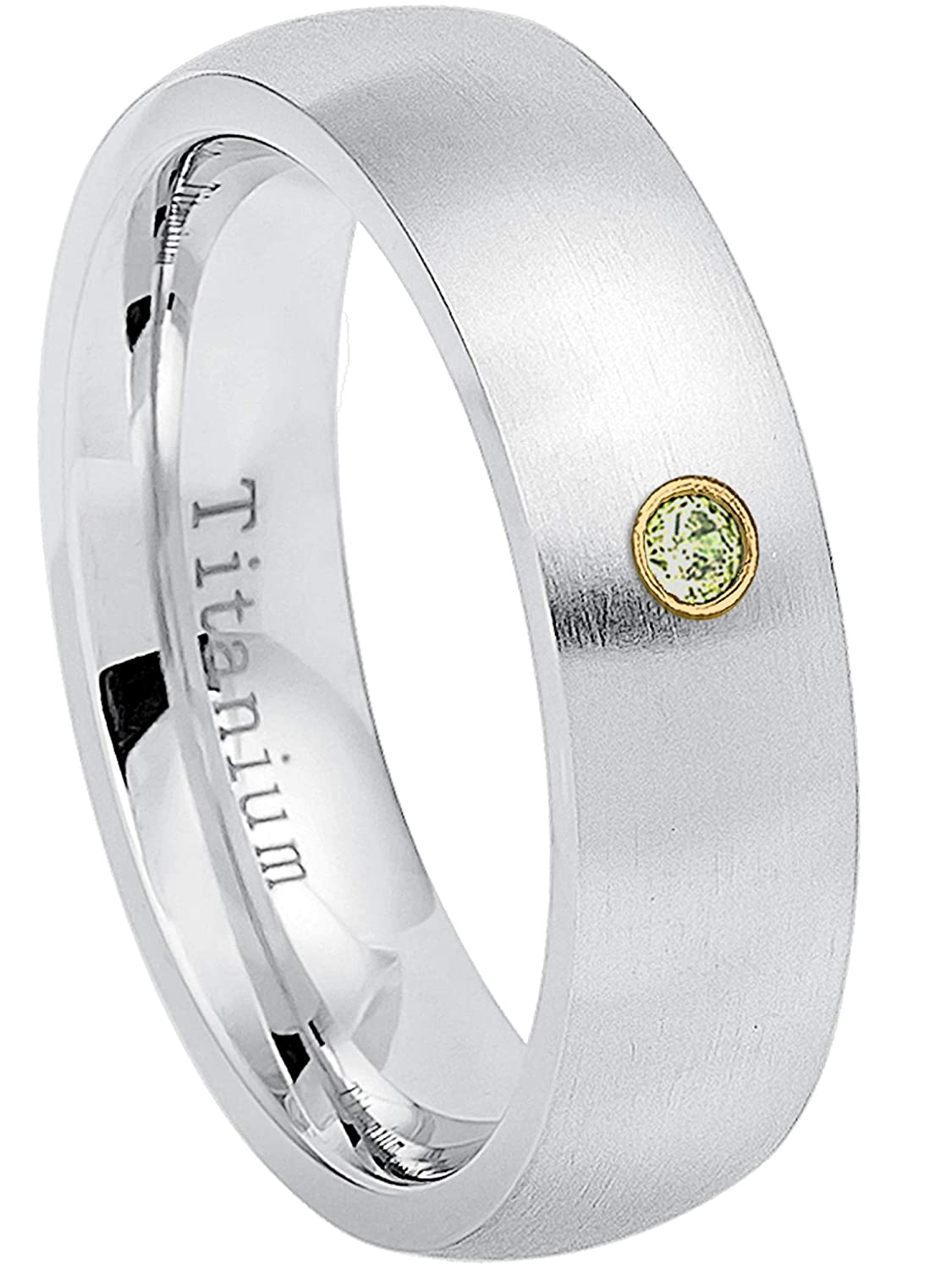 August Birthstone Ring 6MM Brushed Finish Comfort Fit Classic Dome White Wedding Band 0.07ct Peridot Titanium Ring 12