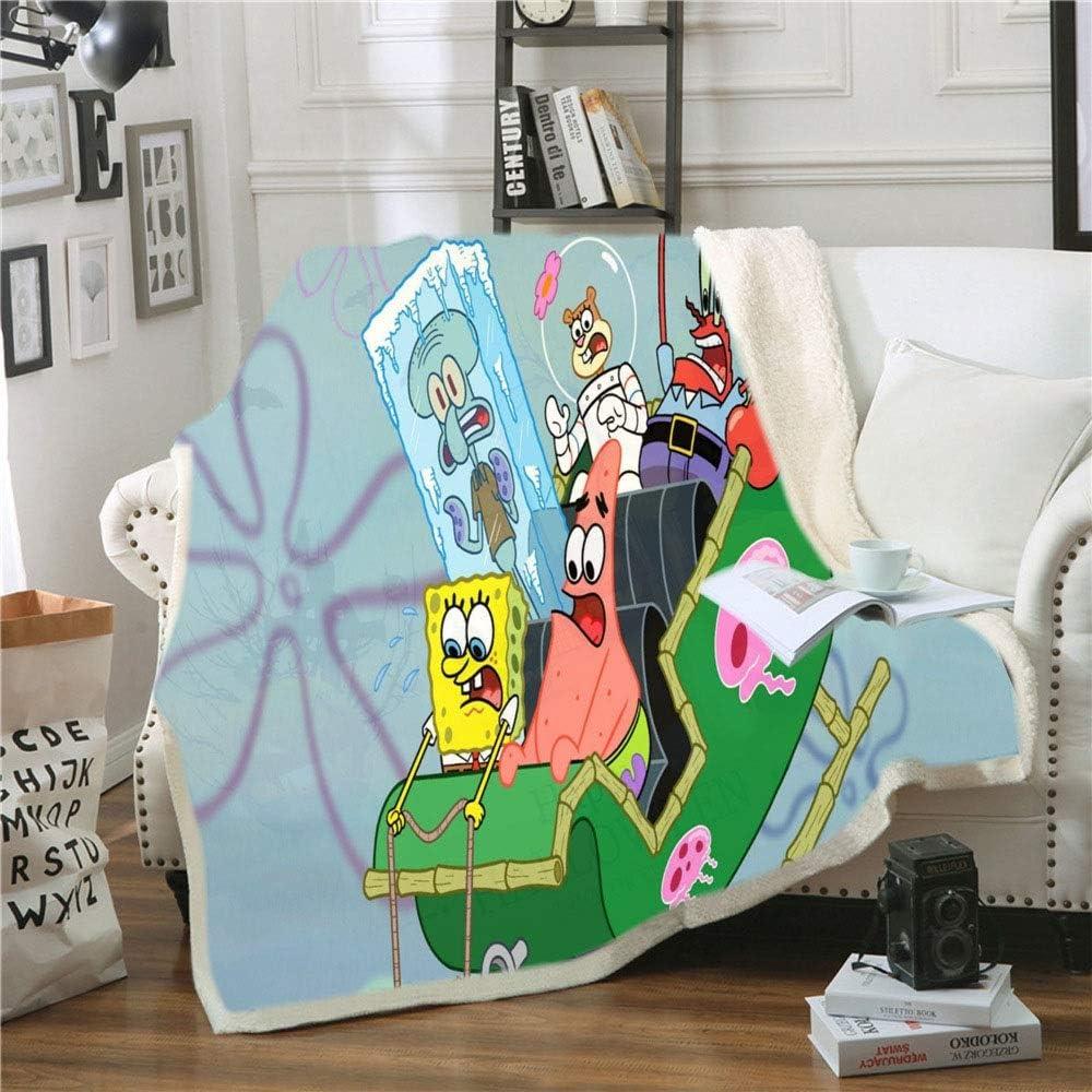 JSYJ La impresión 3D Mantas de Cama de Dibujos Animados, Animado montaña Rusa Bob Esponja Fleece Throw Blankets, Sofá for Silla de la Sala Dormitorio, niños Regalo for Adultos