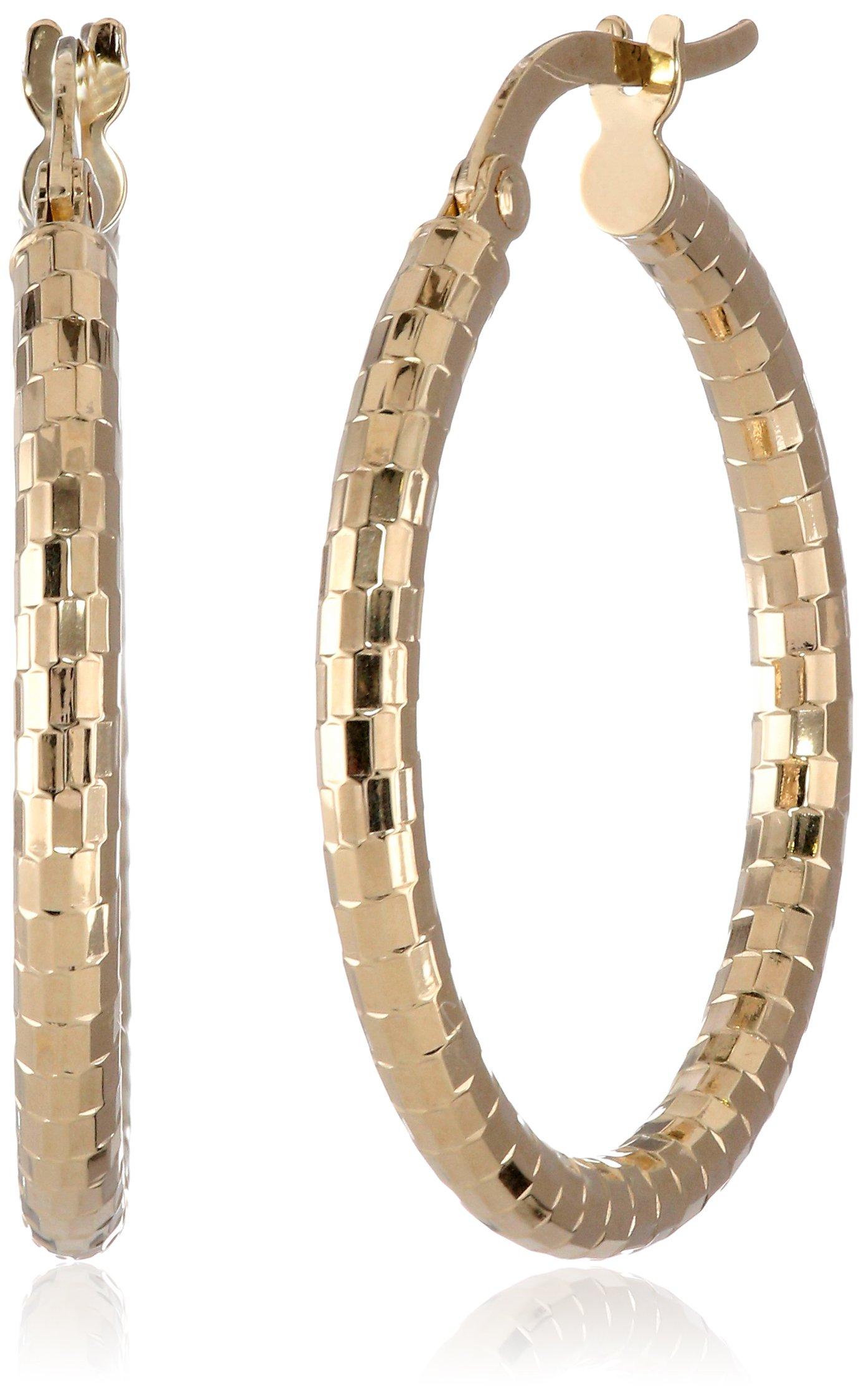 14k Yellow Gold Italian 40mm Diamond-Cut Tube Hoop Earrings