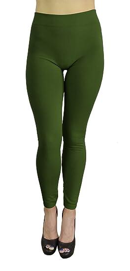7439da3b492ea Belle Donne - Women's Fleece Lined Leggings (One Size) - Army Green ...