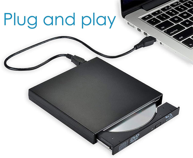 USB External blu ray Drive Burner,Portable Bluray DVD RW Player,Silm BD DVD CD Writer Recorder for Laptop Desktop Notebook Support Windows XP/7/8/10 Mac os(Black)