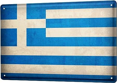LEotiE SINCE 2004 Targhe Cartello Targa in Metallo Decorazione della Parete Viaggio Mondo Grecia Bandiera