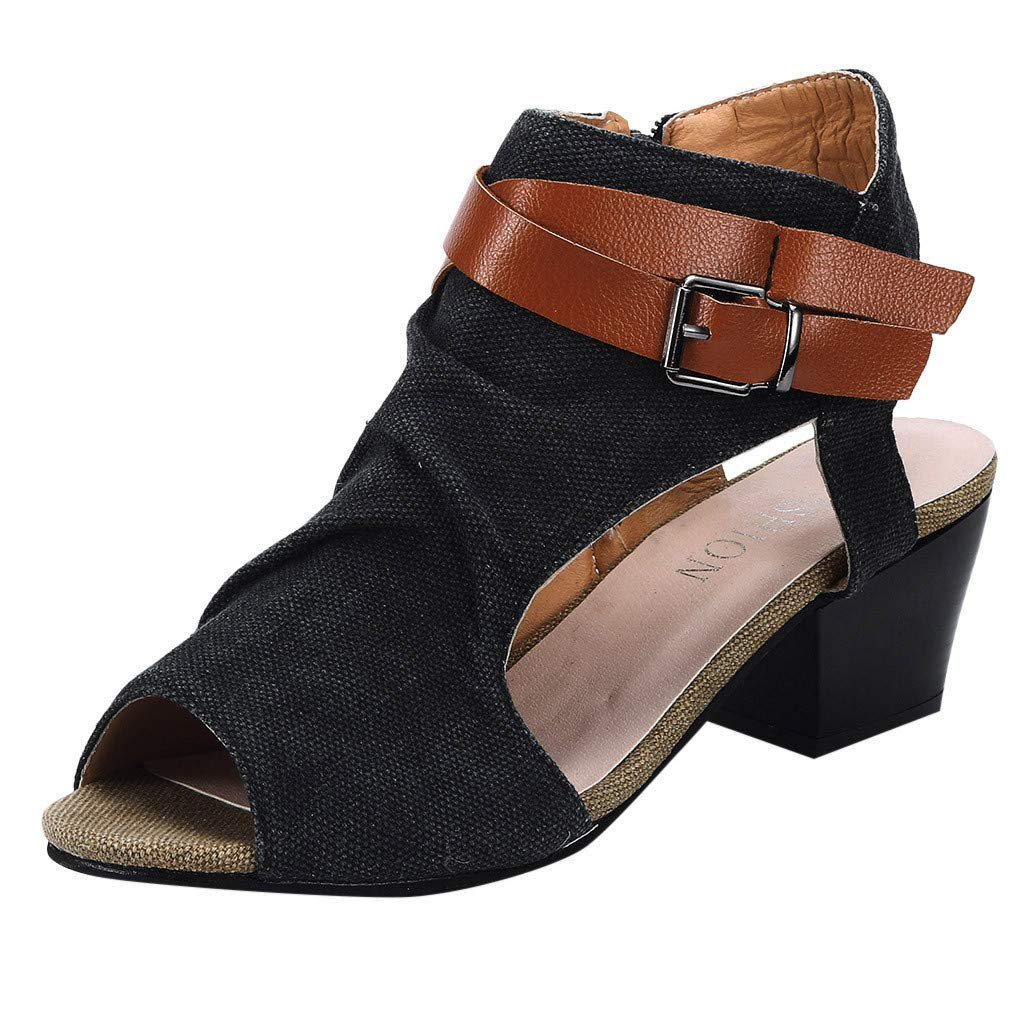refulgence Ladies Thick Heel Sandals, Zipper Sandals Ankle Square Heel Shoes Breathable Peep Toe Shoes(Black,US=7.5)