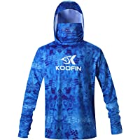 KOOFIN GEAR Performance Fishing Hoodie with Face Mask Hooded Sunblock Shirt Sun Shield Long Sleeve Shirt UPF 50 Dry Fit…