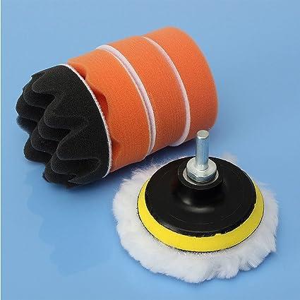 Herramientas de Pulido Barcos SAXTEL Kit de 4 Estilos de Almohadillas pulidoras para pulir el Coche con Adaptador de Taladro M10 para pulir Autos Camiones