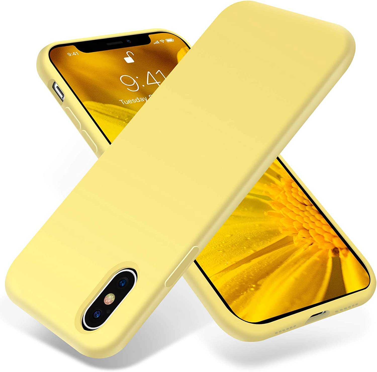 OTOFLY for iPhone X Case ONLY, [Silky and Soft Touch Series] Premium Soft Silicone Rubber Full-Body Protective Bumper Case Compatible with Apple iPhone X(ONLY) - Yellow