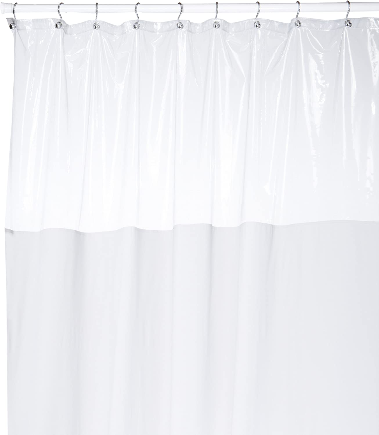 Carnation Home Fashions 54 by 78-Inch Vinyl Window Shower Curtain, White