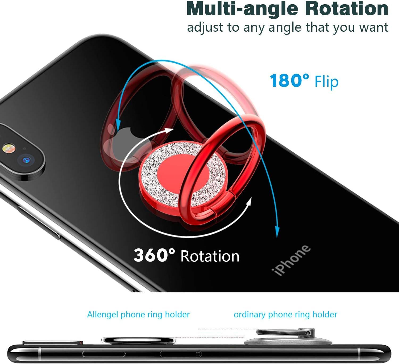 Allengel Cell Phone Ring Holder,360 Rotation Glitter Metal Finger ...