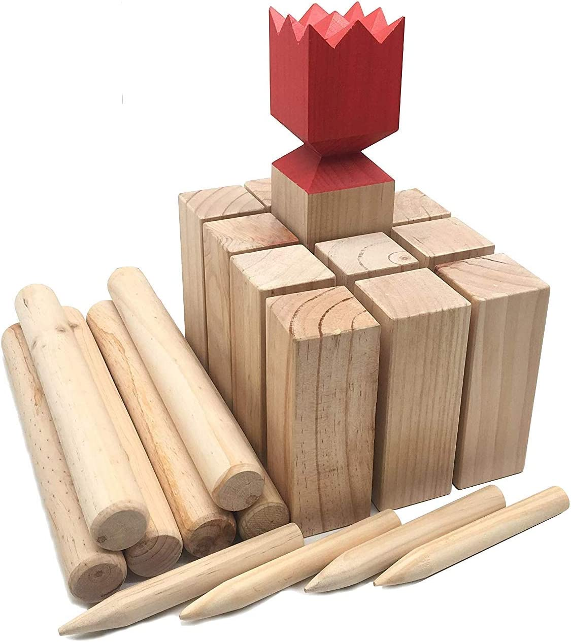 GYMAX Kubb Game Set Outdoor Viking Chess Sets for Yard Garden Lawn /& Beach Wooden Kubb Throwing Family /& Party Game