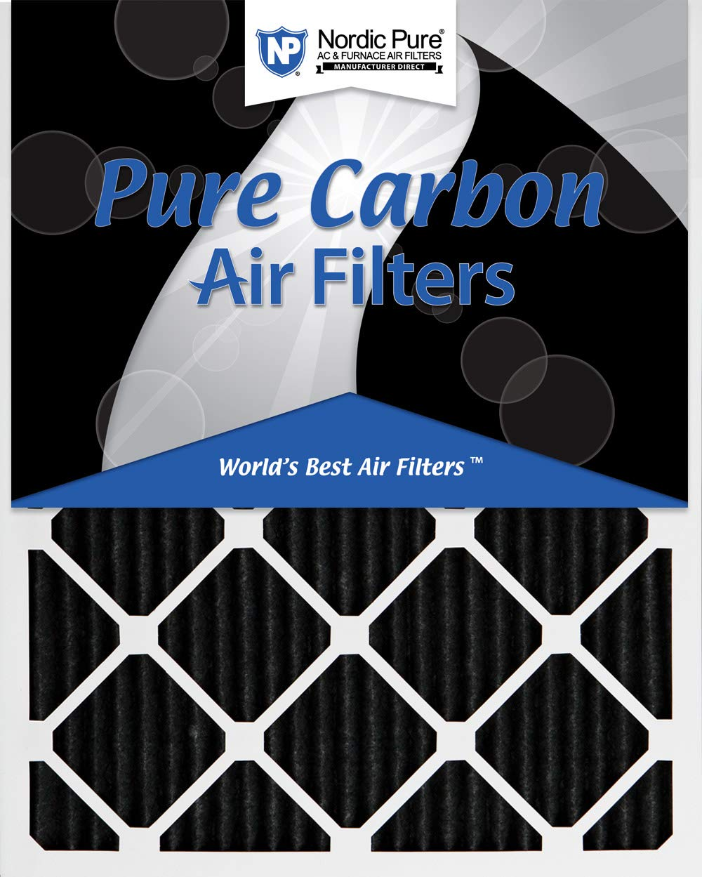 Nordic Pure 20x21/_1//2x1 Exact MERV 8 Pure Carbon Pleated Odor Reduction AC Furnace Air Filters 3 Pack