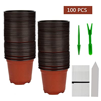 "BTSD-home 100 Pcs 4"" Plastic Plants Pots Nursery Pots 100 Pcs Planting Tags Label 2Pcs Mini Garden Tools Flower Seedlings Container: Garden & Outdoor"