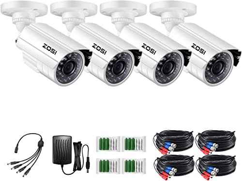 ZOSI 4 Pack HD-TVI 1280TVL 720p Home Security Camera Outdoor Indoor, Weatherproof Surveillance CCTV Bullet Camera with 80ft Long Night Vision and 75 View Angleon View Angle