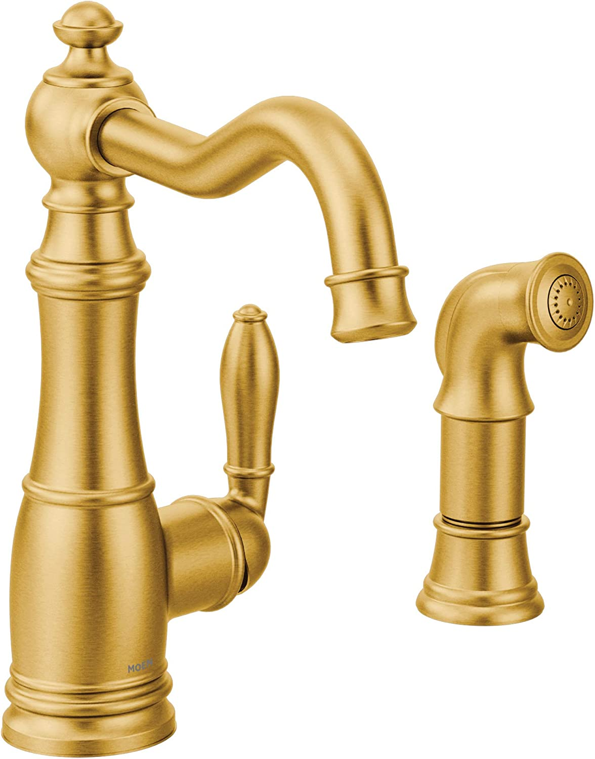 Moen S72101bg Weymouth One Handle Traditional Kitchen Faucet With Side Sprayer Brushed Gold Amazon Com