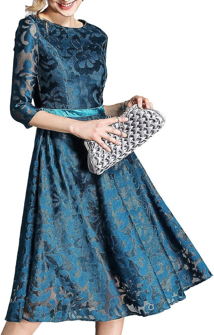 Vintage blue midi evening dress