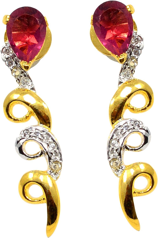 Fabricante de joyería hecho a mano, cuarzo rosa pera, circonita cúbica redonda, chapado en oro, pendientes colgantes envueltos Jaipur Rajasthan India