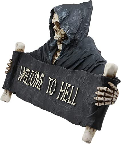 "Ebros Large Grim Reaper Skeleton Opening Scroll Sign Of Bones Saying""Welcome To Hell"" Wall Decor 17.5″Long Halloween Night Reaper Harvester of Souls 3D Hanging Art Plaque Sculpture"