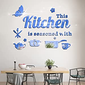 14Pcs Removable Acrylic Mirror Kitchen Wall Decal, KMOTASUO Ornamental Mural Stickers with Letters Kitchenware and Butterfly, Home Decor Decals for Living Room Dining Room Restaurant (Blue)