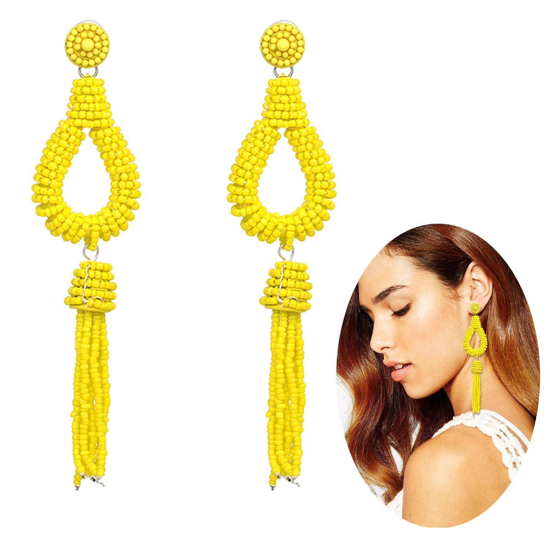KissYan Bohemian Beaded Tassel Dangle Earrings Long Fringe Multi Color Drop Statement Earrings Handmade Jewelry For Women Girls(Teardrop Yellow)