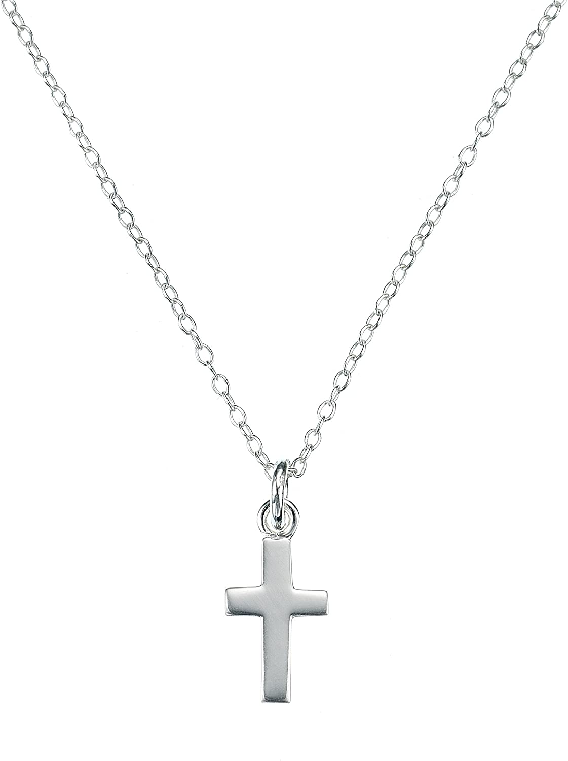 Molly B London Sterling Silver Cross Girl's Necklace | Baptism Jewelry | First Holy Communion Gift | Girl's Religious Jewelry | Quinceañera Gift | Baby & Girls Jewelry
