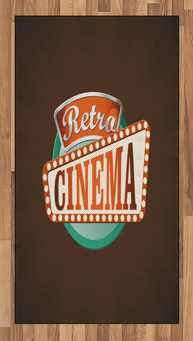 Ambesonne Movie Theater Area Rug, Retro Style Cinema Sign Design Film Festival Hollywood Theme, Flat Woven Accent Rug for Living Room Bedroom Dining Room, 2.6 x 5 FT, Brown Turquoise Vermilion
