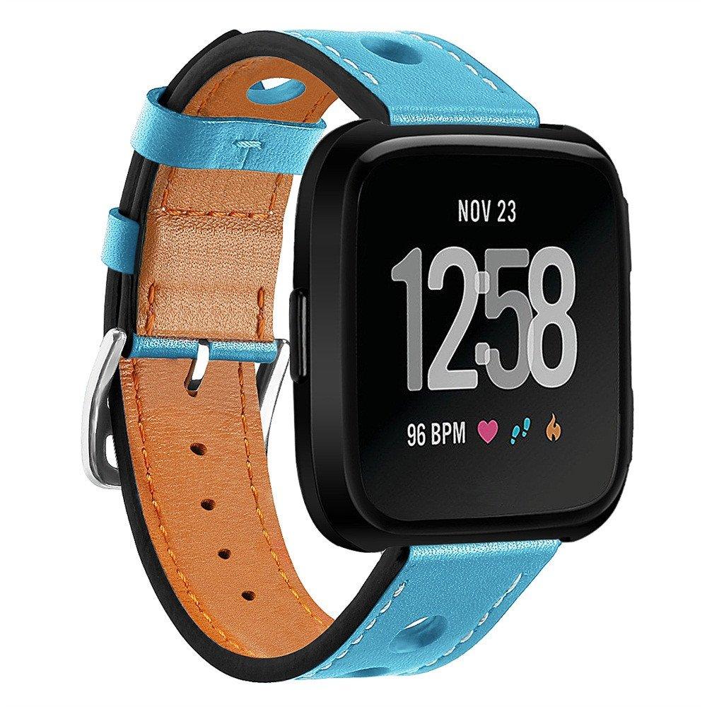 ジョイントfor Fitbit Versaバンド、調節可能交換Wristbandsラグジュアリーレザーバンドブレスレットスポーツストラップ時計バンドfor Fitbit Versa Smart Watch  スカイブルー B07BNGDSV7