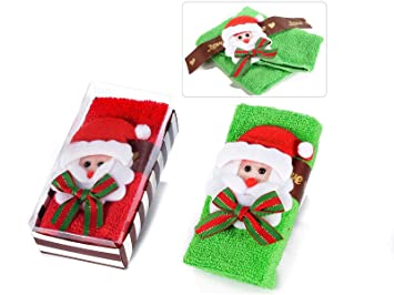 Ideapiu 6 Toalla de Algodón C/diseño de Papá Noel en Caja de Regalo: Amazon.es: Hogar
