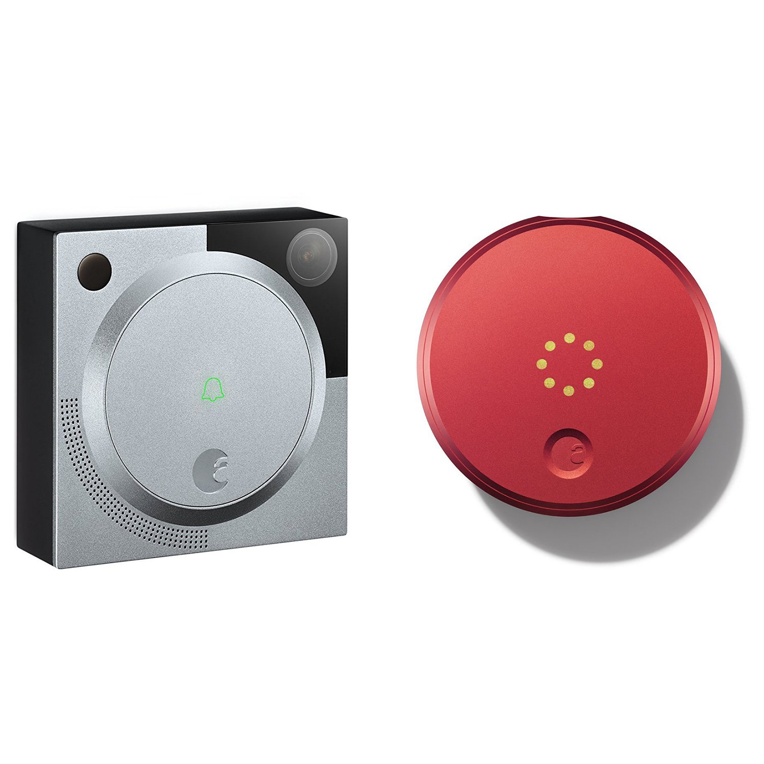 August Smart Lock and HD Doorbell Camera Wireless Entry System - 1st Gen Red/Silver