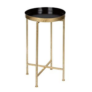 Kate and Laurel Celia Round Metal Foldable Tray Accent Table, Black and Gold