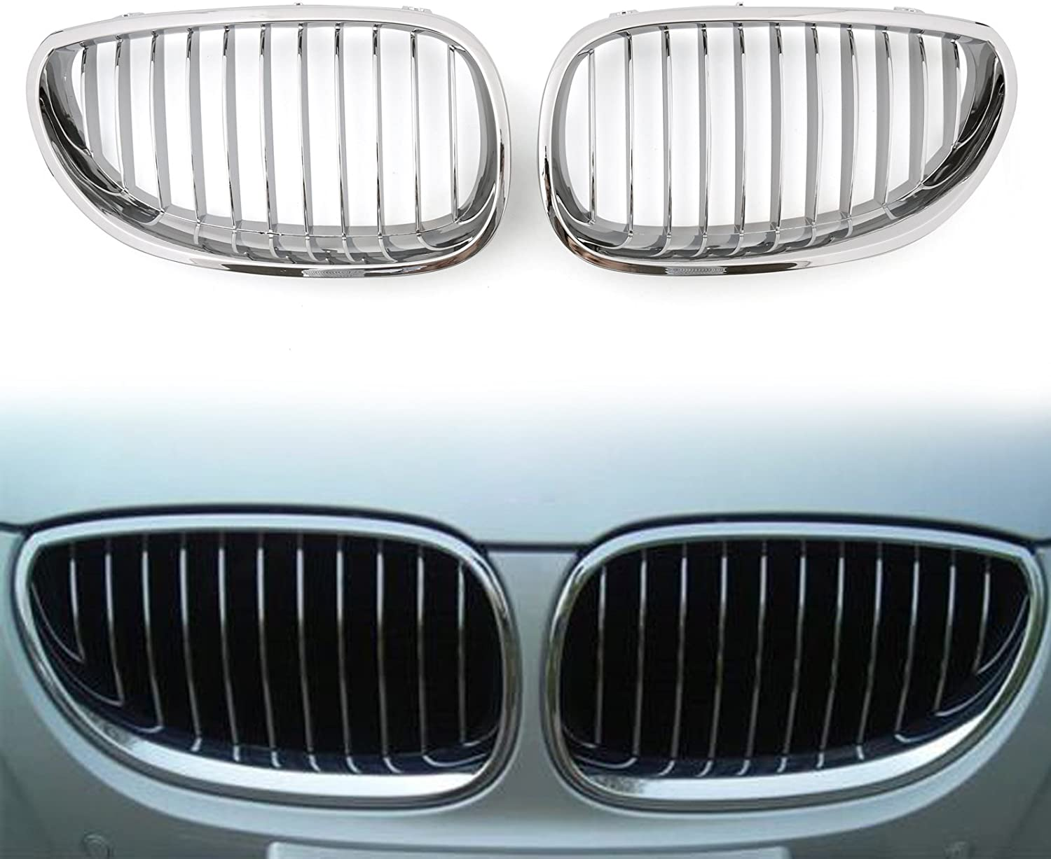 Artudatech Car Front Grill 1 Pair Mesh Double Grille Front Kidney Bumper Grilles Front Fence Grill for B M W E60 E61 5 Series M5 2003-2009