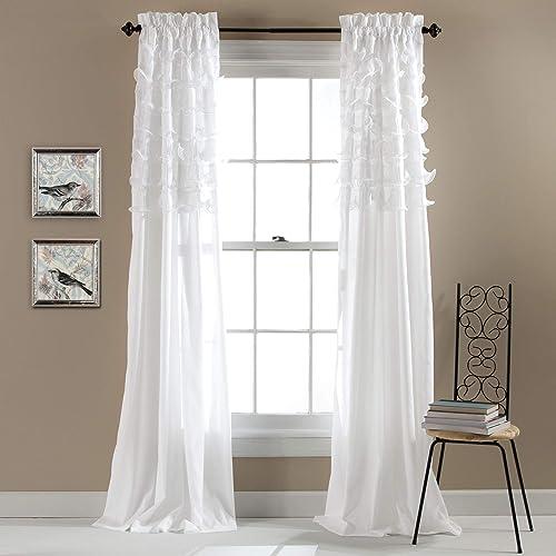 Lush Decor Avery Curtains Ruffled Shabby Chic Style Window Panel Set