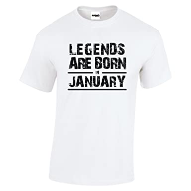 43506369ae2 Legends Are Born In January Birthday Mens Crew Neck Short Sleeve Custom  Personalized T-Shirts  Amazon.co.uk  Clothing