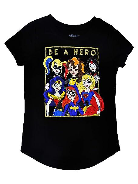 de80671774dc DC Comics Superhero Girls T-Shirt Wonder Woman Supergirl Batgirl Print (XL)  Black