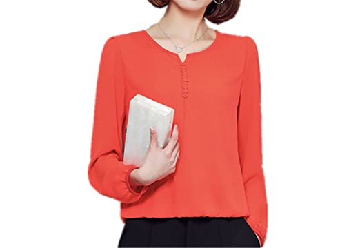 RENXINGLI Women Chic Chiffon Blouse Shirt Solid Tops Long Sleeve Casual Fashion Shirts Blusas Orange M