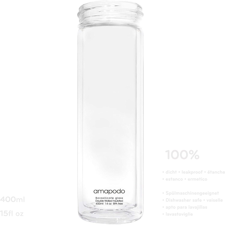Trinkflasche Glas 400ml amapodo Teeflasche mit Sieb to go Teekanne mit Siebeinsatz Tee-Glas Flasche doppelwandig isoliert