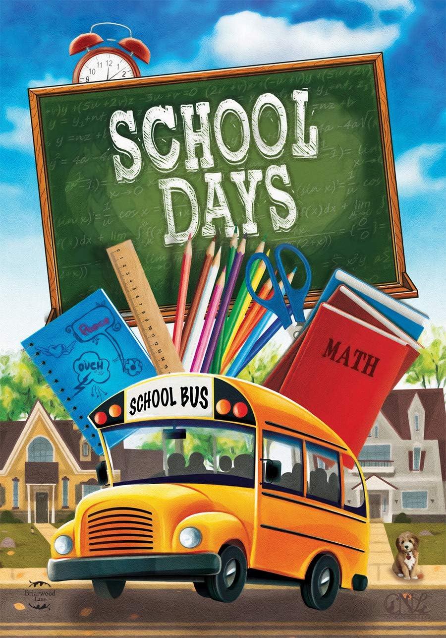 """Briarwood Lane School Days Autumn Garden Flag Bus Fall Chalkboard 12.5"""" x 18"""""""