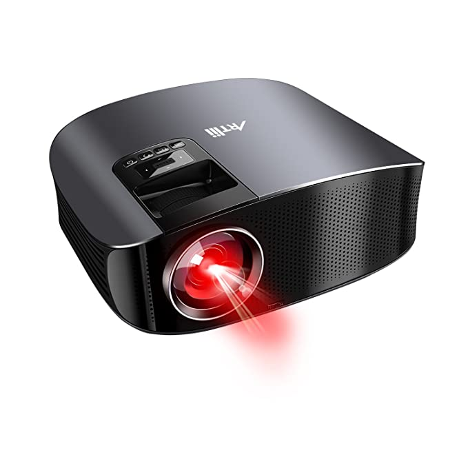 Vidéoprojecteur Full HD, Artlii Rétroprojecteur 3500 lumens, Supporte le 1080p, Compatible Clé USB, iPhone, PC, Laptop regarder Coupe du Monde FIFA, NBA, Football, Roland Garros