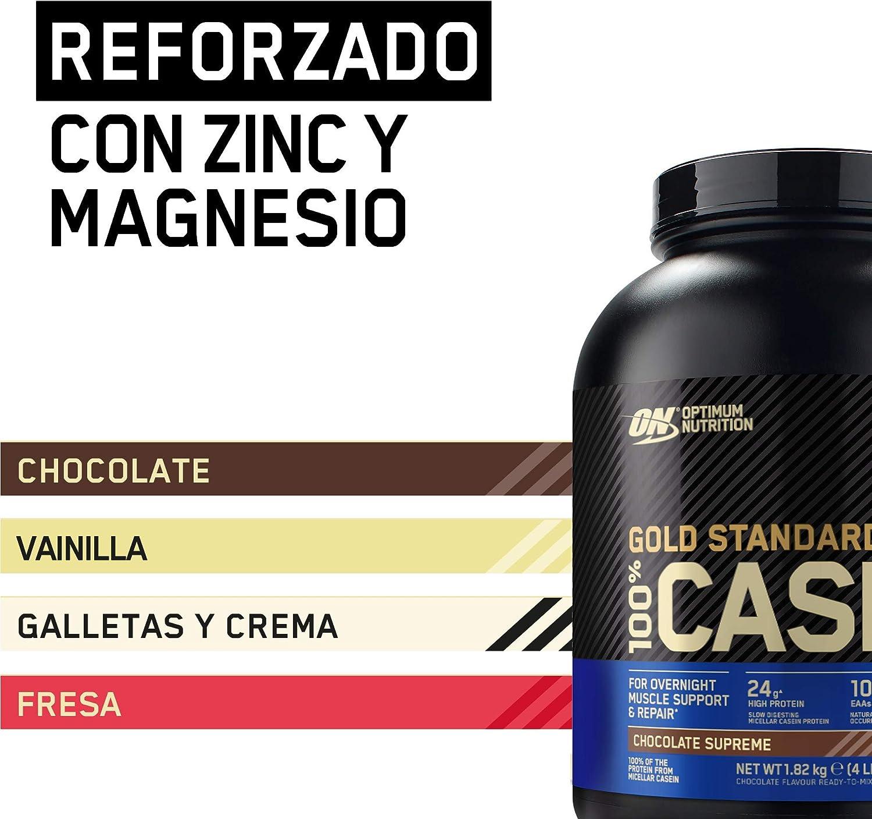 Optimum Nutrition Gold Standard Casein, Proteinas de Caseina en Polvo con BCAA Aminoacidos Esenciales, Zinc y Magnesio en Polvo, Chocolate, 55 ...