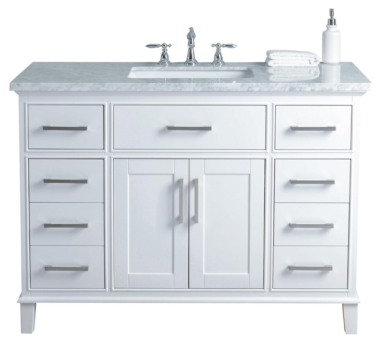 Stufurhome Hd 1475w 48 Cr 48 Inch White Leigh Single Sink Bathroom