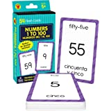 Carson Dellosa - Numbers 1 to 100 / Numeros 1 al 100 Flash Cards - ESL Bilingual Spanish Counting Cards for Kindergarten Todd