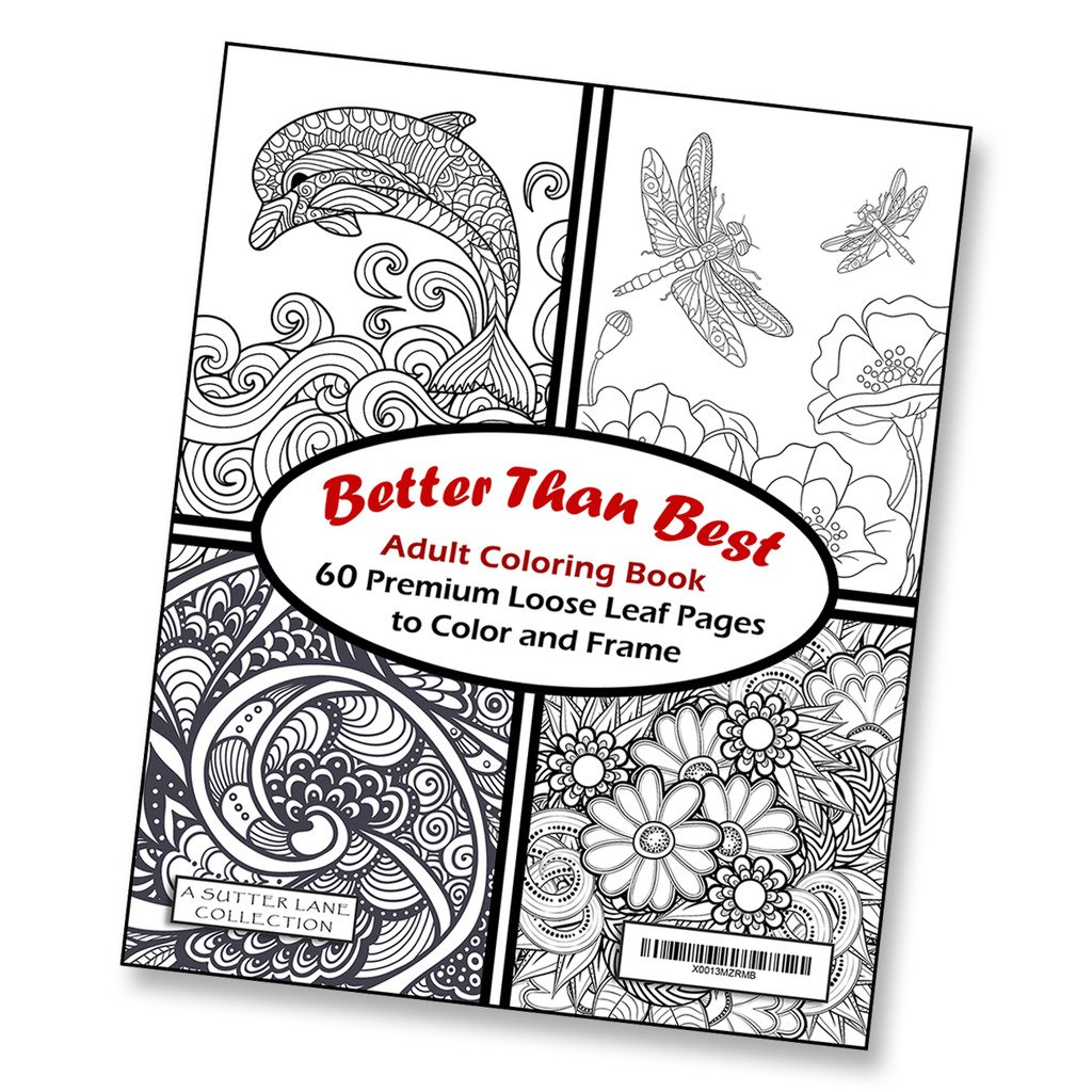Amazon.com: Better Than Best Giant Adult Coloring Book - 60 Loose ...