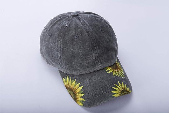 Hand Painted Sunflower Baseball Cap Women Men-Flower Floral Military Dark  Green Boy Girl Hat-Cotton Canvas Mom Dad Hat-Vegan Trucker Hat-Winter Fall  Outdoor ... ba2f27658ae