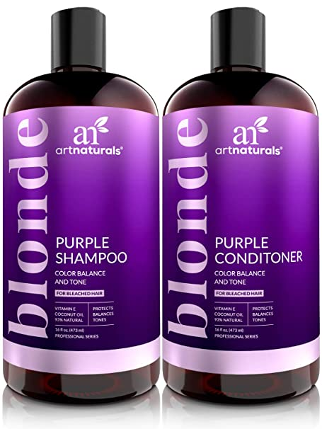 ArtNaturals Purple Shampoo and Conditioner Set for Blonde Hair - Sulfate Free & No Parabens Color Toning Gray, Silver, Brunette, Highlights, Dyed & Bleached Hairs - Prevents Brassy Yellow - (2 X 16oz) best purple shampoos