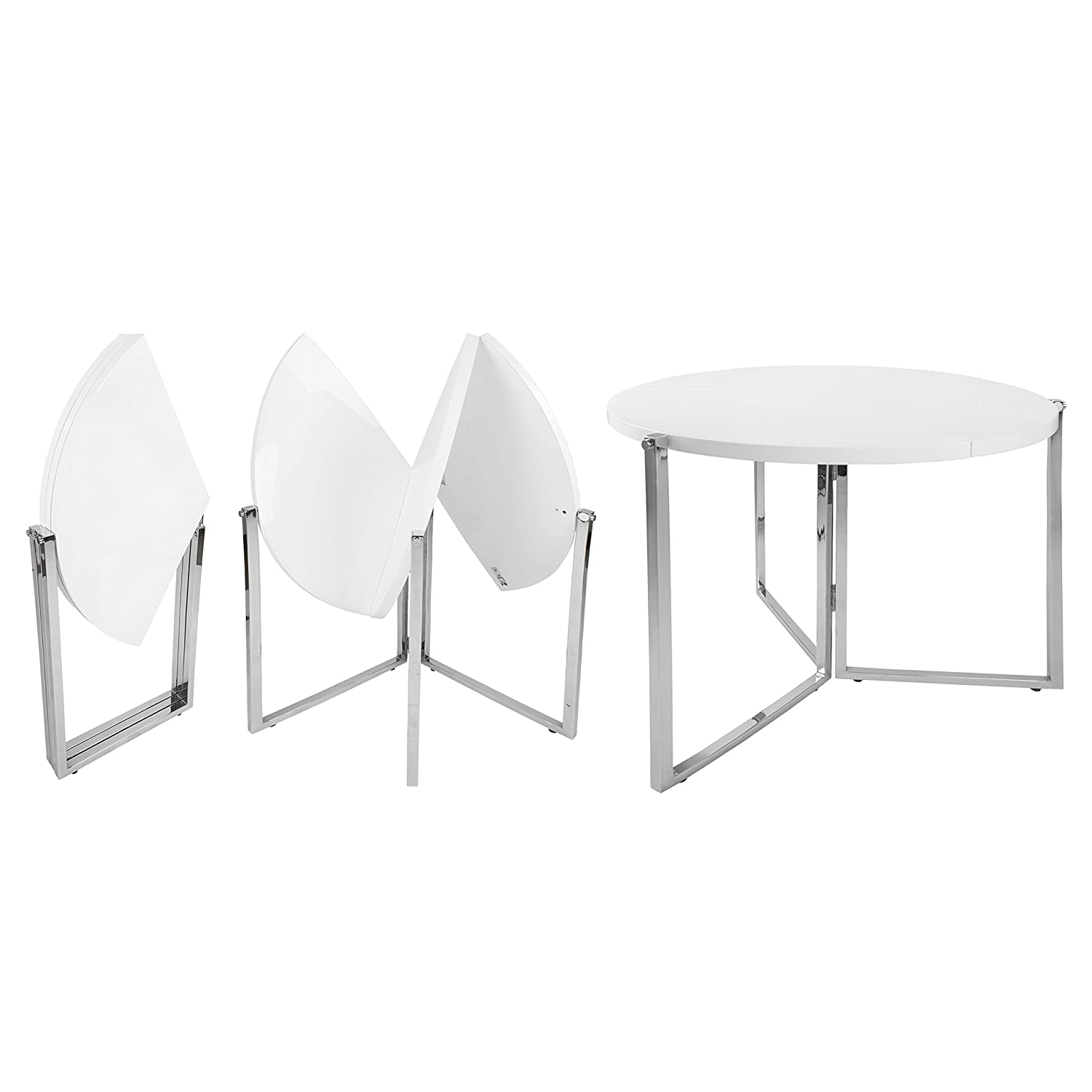 SpaceMaster SM-CO-2389 Easy Folding Space Saving Expandable Large Round Kitchen and Dining Table, White