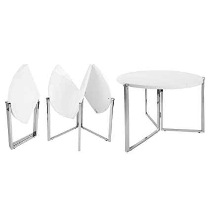 Charmant Amazon.com   SpaceMaster SM CO 2389 Easy Folding Space Saving Expandable  Large Round Kitchen And Dining Table, White   Table U0026 Chair Sets