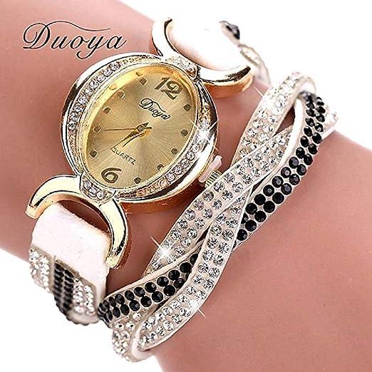Scpink Relojes de Pulsera para Mujer, Tejido de separación Relojes de Cuarzo para Dama con