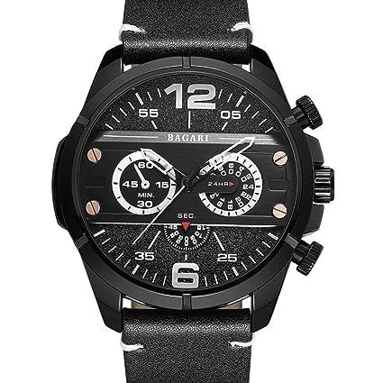 SASA Reloj de Cuarzo Unisex Correa de Cuero Grande dial 55mm Reloj de Moda Deportiva Escalada