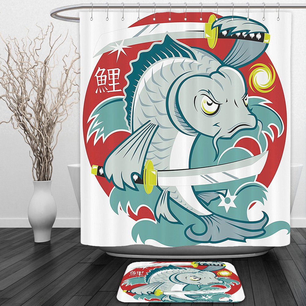 Vipsung Shower Curtain And Ground MatJapanese Decor Collection Koi Samurai with Two Swords on Red Background Martial Art Animal Fighter Illustration Green WhiteShower Curtain Set with Bath Mats Rugs